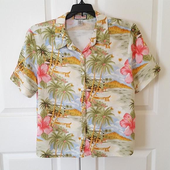 Jamaica Bay Tops - Women's Button Up Shirt Blouse Short